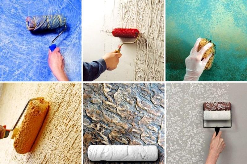 Использование в дизайне фактурной краски - способы нанесения